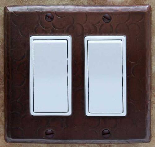 Double decora style copper rocker switch plate cover