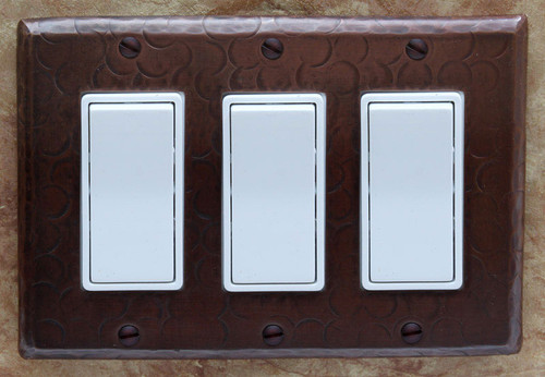 Triple rocker decora style hammered copper switch plate cover