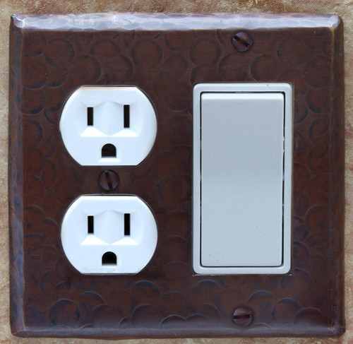 Outlet plug and decora rocker combo cover in copper