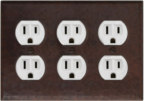 Triple plug outlet hammered copper plate cover