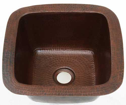 Mini square hammered copper bar sink