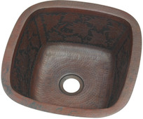 SBV15BQ square copper bar sink with baroque etched design