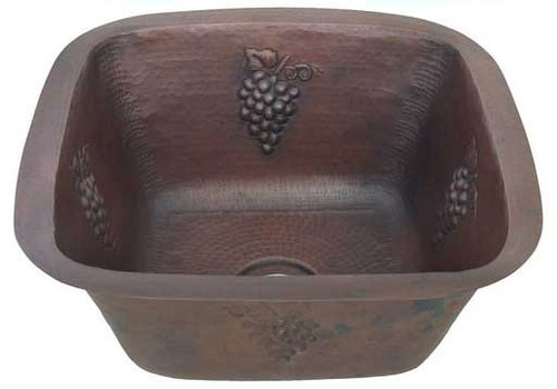 SBV15G-Square copper sink for the Bar with Grape Design