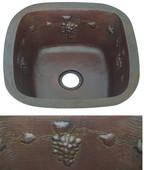 Square copper bar sink with grapevine design