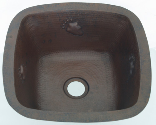 copper square bar sink with paw design