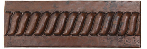 "TL002-2""x 6"" Rope Design copper tile liner"