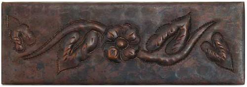 """TL008-2""""x 6"""" Floral Design copper tile liner"""