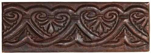 """TL019-2""""x 6"""" Heart Design copper tile liner"""
