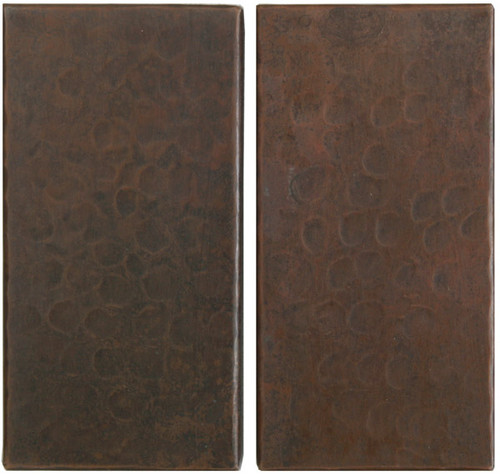 """Hammered copper tile accents 4""""x 2"""""""