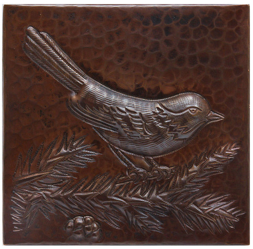 Bird on a branch copper tile