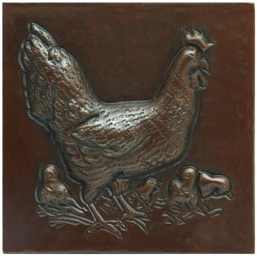Hen and chicks designer copper tile