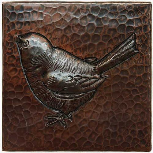 Baby bird design copper tile