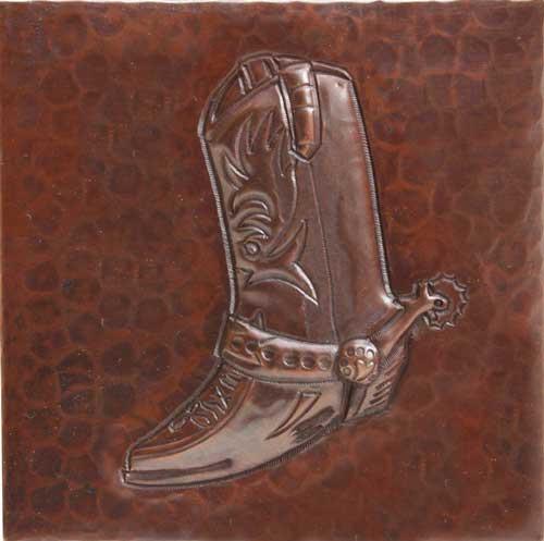 Cowboy boot design copper tile