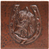 Horseshoe with horsehead design copper tile