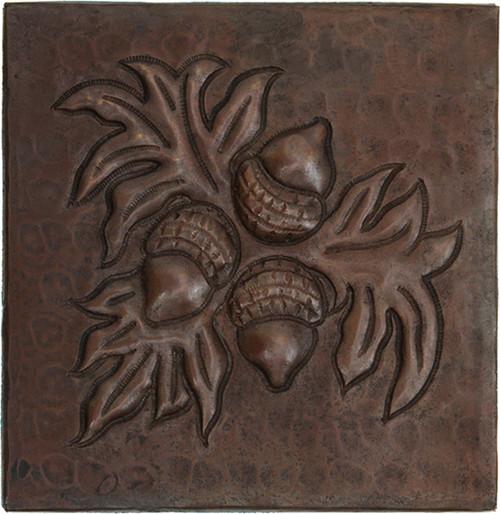 Hammered Copper Acorn Tile