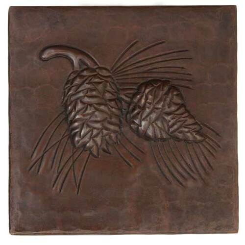 Pine cone hammered copper tile