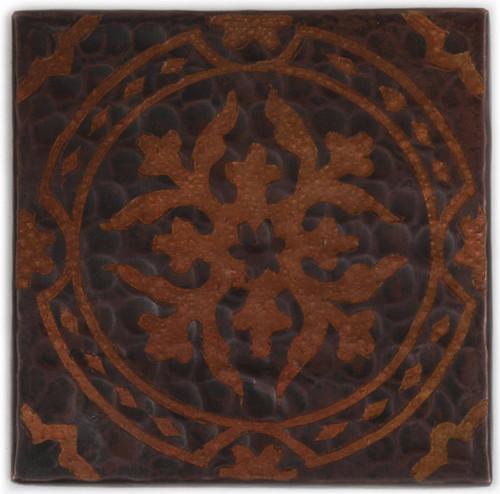TL314BQ Baroque etched design on hammered copper in dark patina