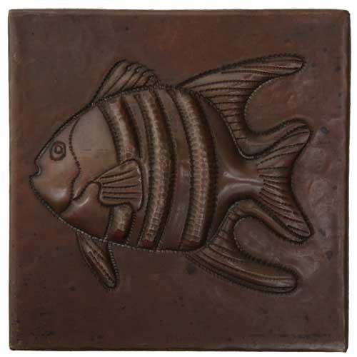 Tropical fish design copper tile
