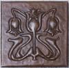Floral Arts and Crafts design copper tile