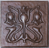 Floral Arts and Crafts design copper tile