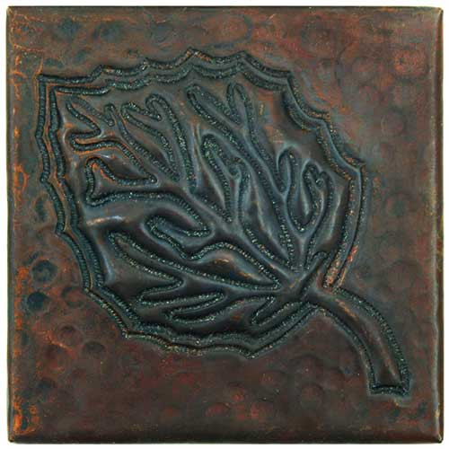 Aspen Leaf design copper tile