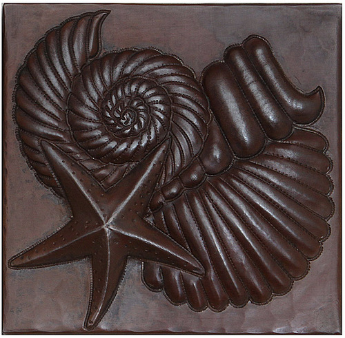 Sea Shells and Starfish design copper tile