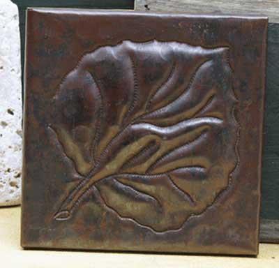 Large leaf design copper tile