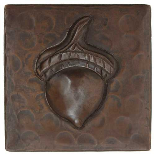 Acorn design copper tile