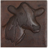 Cow design copper tile