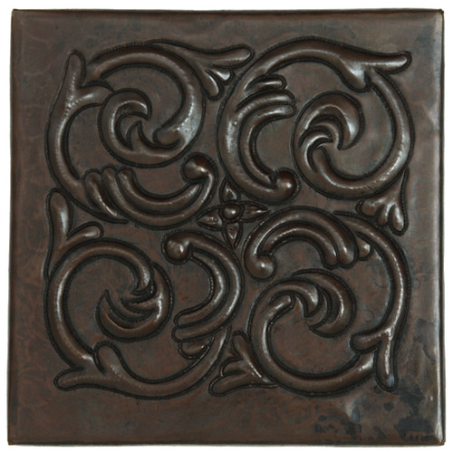 Swirl Medallion design copper tile