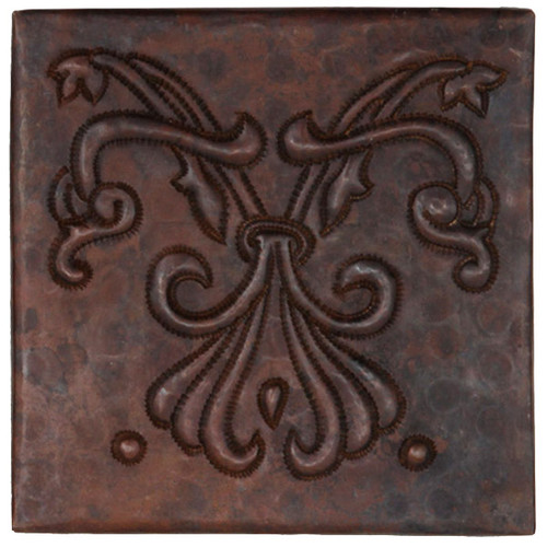 Abstract Fleur design copper tile