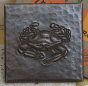 Crab design on hammered copper tile