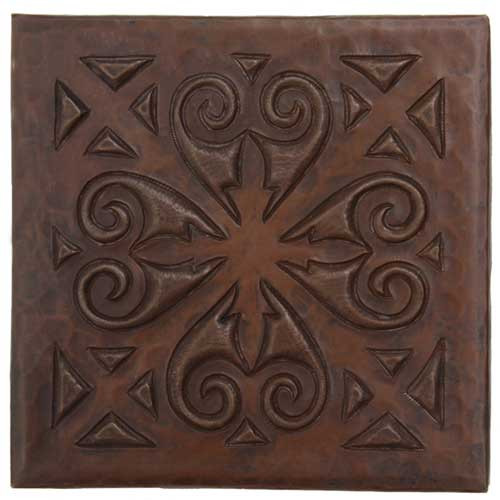 Scroll Medallion design copper tile
