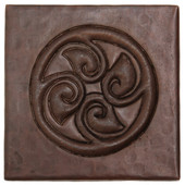 Circle of leaves design copper tile