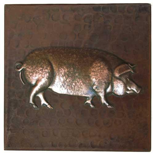 Pig design copper tile
