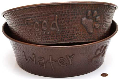 large copper pet bowls