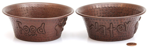 copper pet bowls food and water set