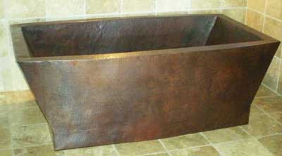 Double thick rectangle copper tub