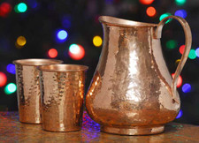 Hammered Copper Pitcher with set of Copper Drinking Cups
