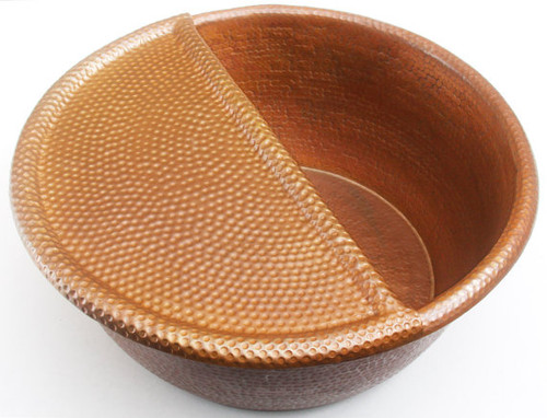 PED20FR-Spa Foot Soak Hammered Copper Pedicure Bowl Removable Foot Rest-(Bowl sold separately).
