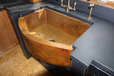FHA33W1R-Rounded front farmhouse sink in Cafe Patina Color