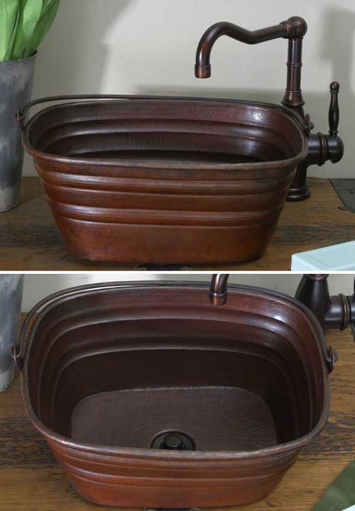Hammered Copper Vessel Style Bucket Sink By Hammermarc.