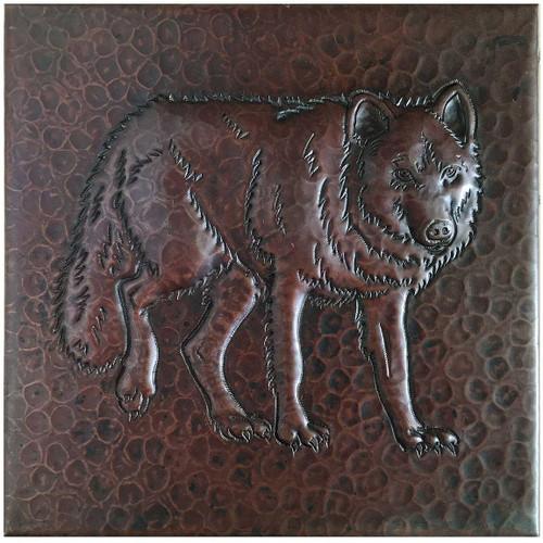 215 Hammered Copper Wolf Tile