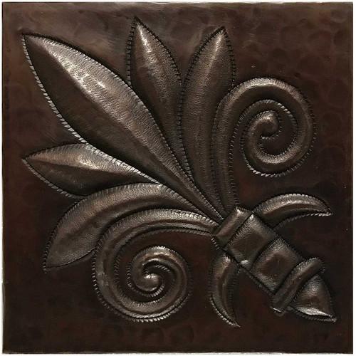 Palm Fleur De Lis hammered copper tile TL222
