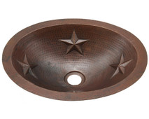Small oval copper sink with stars