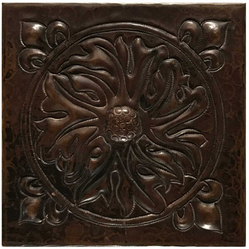 Foliage Medallion hammered copper tile TL229