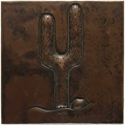 Double Cactus hammered copper tile TL230
