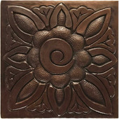 Floral Medallion hammered copper tile TL233