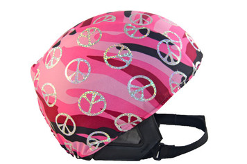 Pink Camouflage with Silver Peace Signs Helmet Cover