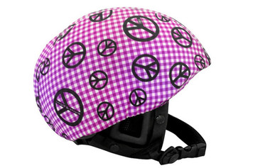Purple Gingham Peace Sign Helmet Cover